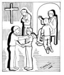 Confesiones en la iglesia en San Pedro y Pablo