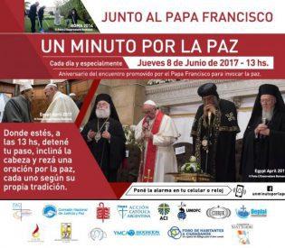 Un Minuto por la Paz, junto con el Papa Francisco a las 13.00h