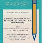 """Charla """"El sistema educativo en Suiza.   La Secundaria (aprendizaje y Bachillerato)"""""""
