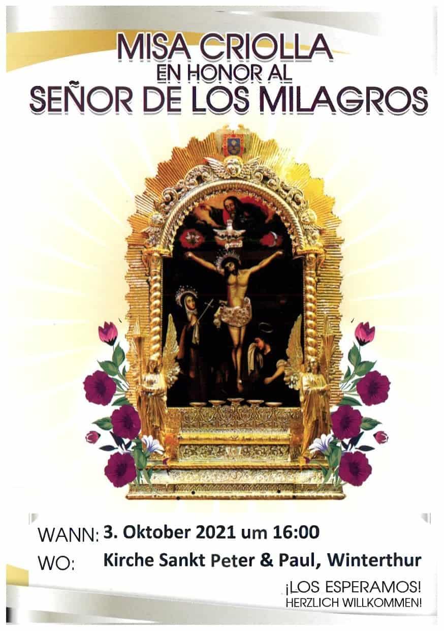 Misa criolla en honor al Señor de los Milagros en Winterthur @ Iglesia San Peter und Paul