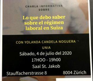 Charla de información: «Lo que debo saber sobre el régimen laboral en Suiza.  Sábado 04.07.2020 a las 17.00h. En sala St. Jakob (Stauffacherstr. 8)