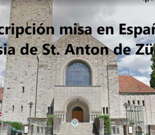 Inscripción para la asistencia a la misa en la Iglesia de St. Anton ZH.