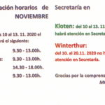 Información importante – Horario de Secretaría